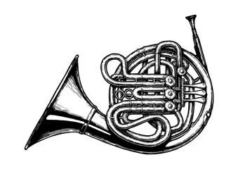Vintage illustration of French horn