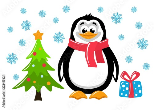 Colorful Christmas Background For Kids.Sute Penguin Christmas Tree And Gift Box On A White