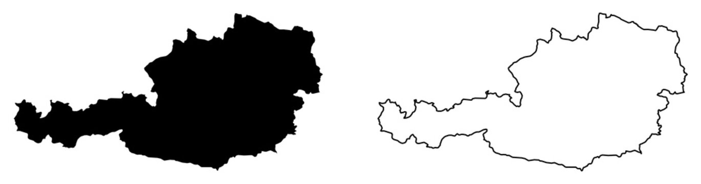 Simple (only sharp corners) map of Austria vector drawing. Mercator projection. Filled and outline version.