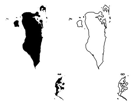 Simple (only sharp corners) map - Kingdom of Bahrain vector drawing. Mercator projection. Filled and outline version.