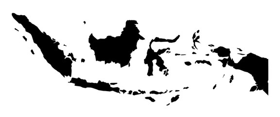 Simple (only sharp corners) map of Indonesia vector drawing.
