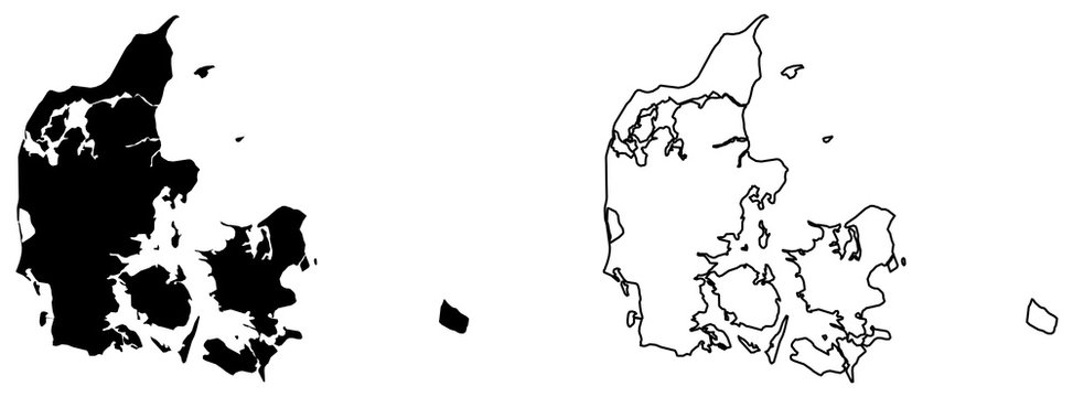 Simple (only sharp corners) map of Denmark (Danmark) vector drawing. Mercator projection. Filled and outline version.