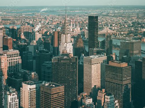 Vista Aerea De Manhattan Al Atardecer En Invierno Fotografia De