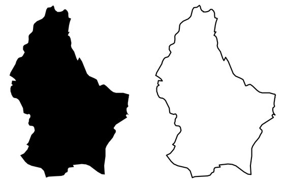 Simple (only sharp corners) map of Grand Duchy of Luxembourg vector drawing. Mercator projection. Filled and outline version.