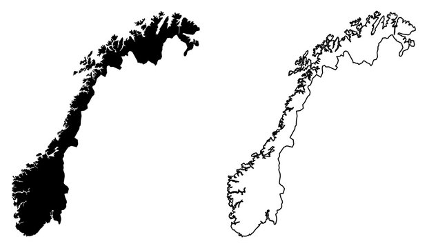 Simple (only sharp corners) map of Norway vector drawing. Mercator projection. Filled and outline version.