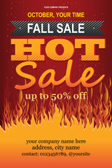 Fall Hot Sale, autumn discount offering, autumn colors, fall vector EPS 10 template, Fall discount shop offering template, fall mall or fair, season autumn months 2018.
