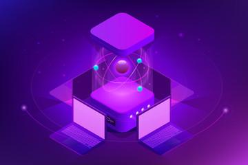 Isometric Quantum computing or Supercomputing. A quantum computer is a device that performs quantum computing. Vector illustration