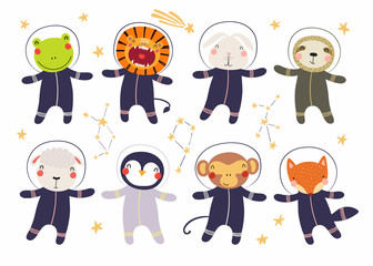 Poster de jardin Des Illustrations Set of cute funny animal astronauts in space suits, with stars. Isolated objects on white background. Hand drawn vector illustration. Scandinavian style flat design. Concept for children print.