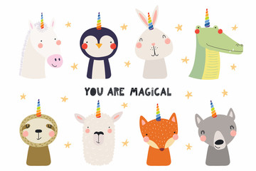 Foto auf Leinwand Abbildungen Set of cute funny animals with unicorn horns, quote You are magical. Isolated objects on white background. Hand drawn vector illustration. Scandinavian style flat design. Concept for children print.