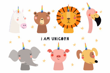 Foto auf Gartenposter Abbildungen Set of cute funny animals with unicorn horns, quote I am unicorn . Isolated objects on white background. Hand drawn vector illustration. Scandinavian style flat design. Concept for children print.