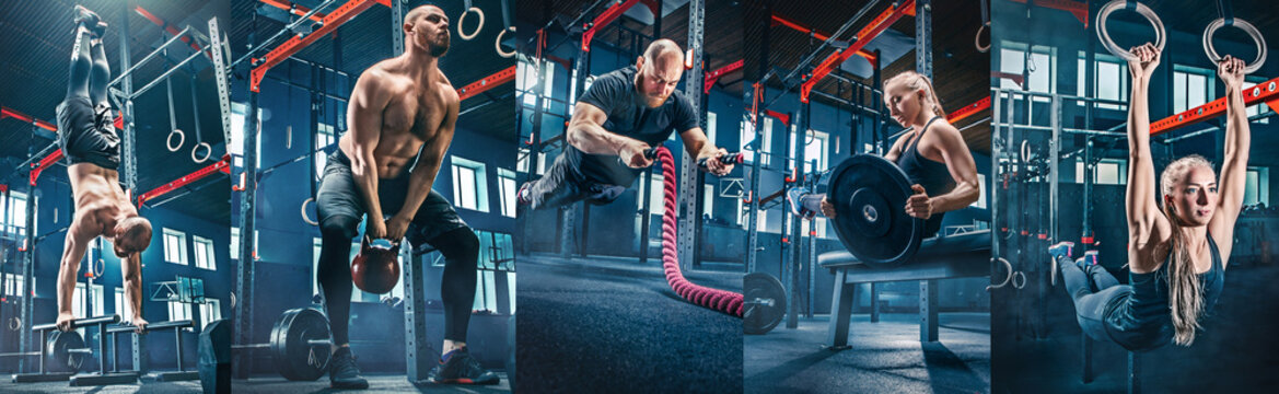 Collage about men with battle rope and woman in the fitness gym. The gym, sport, rope, training, athlete, workout, exercises concept