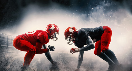 American football players in action play in professional sport stadium. Fit caucasian men in uniform with ball. Human emotions and facial expressions concept. scramble concepts