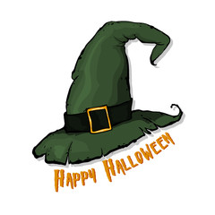 An illustration of a cartoon Halloween witch hat.  Happy Halloween. Hand drawn vector illustration.