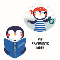 Hand drawn vector illustration of a cute funny penguin reading a book, with quote My favourite book. Isolated objects on white background. Scandinavian style flat design. Concept for children print.