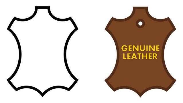 Genuine leather sign. Animal skin outline, black /white and brown version with text.