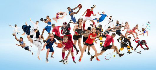 Attack. Sport collage about kickboxing, soccer, american football, basketball, ice hockey, badminton, taekwondo, aikido, tennis, rugby players and gymnast isolated on blue background with copy space