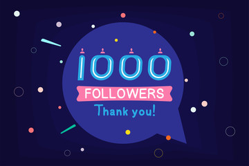 Thank you 1000 Followers notification. Inscription with icon for social media. Flat Vector illustration EPS 10