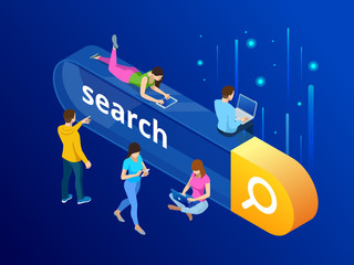 Isometric Search bar modern concept. Search engine optimization and web analytics elements. Vector interface element with search button.