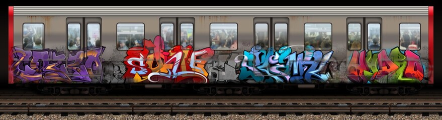 Foto op Plexiglas Graffiti Boston Redline Graffiti Train