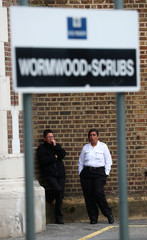 Prison officers stage a protest walkout outside Wormwood Scrubs Prison in London