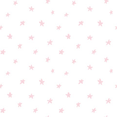 Seamless repeat pattern with stars, on a white background. Hand drawn vector illustration. Flat style design. Concept for Christmas textile print, wallpaper, wrapping paper.