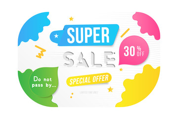 Super sale 30 off discount. Banner template for design advertising and poster with colors elements on white background. Flat vector illustration EPS 10