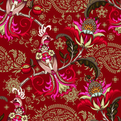 Seamless pattern with embroidery paradise bird