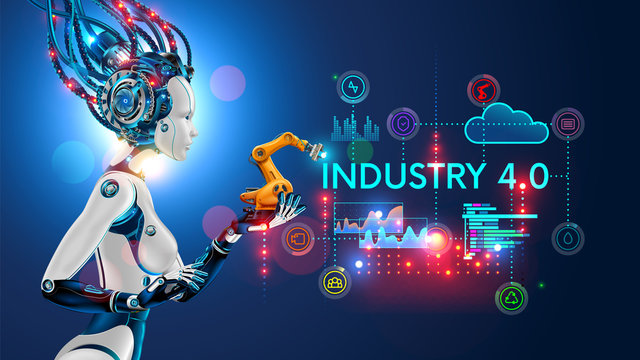 Concept Industry 4.0. Artificial intelligence automation of product manufacturing on smart factory. Ai uses intellectual management of industrial processes. Robot woman holding in palm a robotic arm