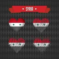 Syria with love. Design vector broken heart with flag inside.