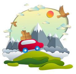 Red car with baggage in scenic nature landscape, mountain range in background, birds and clouds in the sky, paper cut vector illustration of summer holidays travel and tourism, family or friends.