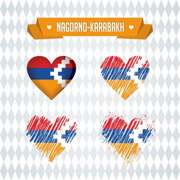 Nagorno-Karabakh. Collection of four vector hearts with flag. Heart silhouette