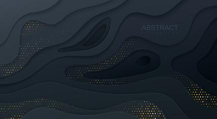 Black paper cut background. Abstract realistic papercut decoration textured with wavy layers and golden halftone effect pattern. 3d topography relief. Vector illustration. Cover layout template. Wall mural