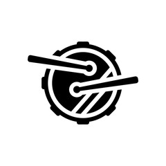 Drum icon. Simple music instrument with drumsticks. Black on white background