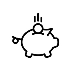 Piggy bank, dollar coin. Business icon. Black on white background