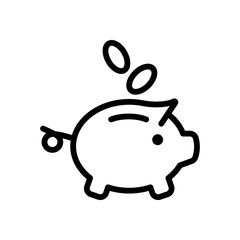 Piggy bank, dollar coins. Business icon. Black on white background
