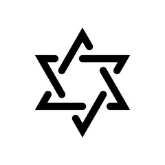 Star of david, simple icon. Black on white background