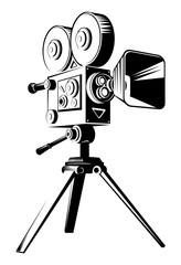 Black retro movie camera on a tripod. Flat vector cartoon illustration isolated on a white background.