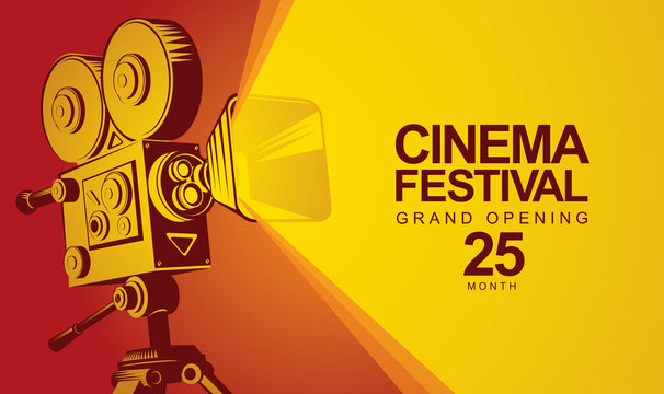 Vector cinema festival poster with old fashioned movie camera. Movie background with words Grand opening. Can be used for banner, poster, web page, background