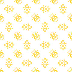 Honey bee vector seamless pattern in thin line style