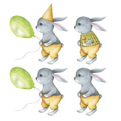 Funny Watercolor Rabbits set