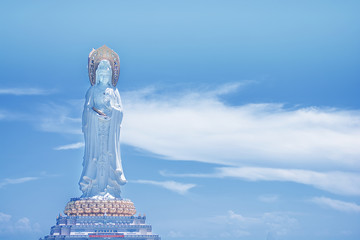 Buddhist Park, open space, many statues and beautiful places on the island of Sanya.