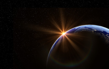 Planet earth with the sun and stars, global model isolated on black background. Elements of this image furnished by NASA