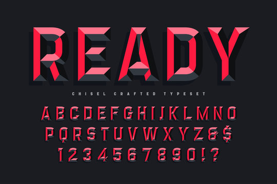Chisel crafted display font with facets, alphabet, letters