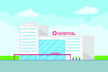 Landscape hospital building medical concept flat styledesign. Panoramic background with hospital building, plants, green grass, cloudy sky and clouds on background. Template for business or posters.