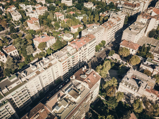 Marseille, aerial view over a district with old buildings, architecture footage