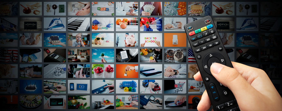 Multimedia video streaming web banner background