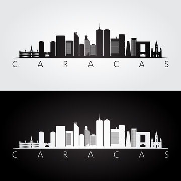 Caracas skyline and landmarks silhouette, black and white design, vector illustration.