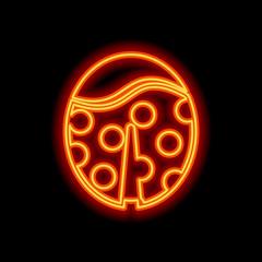 Ladybug icon. Orange neon style on black background. Light icon