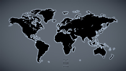 world map with backlight on gray wall background as an element of design. stock vector illustration eps10