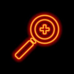 Zoom In icon. Orange neon style on black background. Light icon